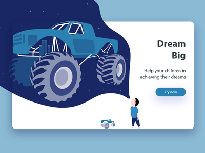 Dream Big webdesign design ui white blue big dream toy truck monster truck kid child website app illustration
