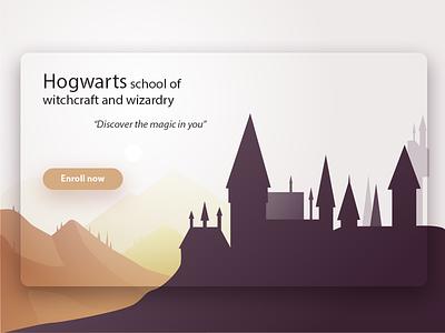 Hogwarts modern clean vector landing page castle hogwarts atmosphere web design website ux ui illustration