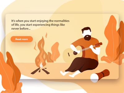 Campfire life music fire guitar website web landing page orange campfire clean ux ui app illustration