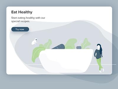 Eat Healthy website design minimal ui illustration fitness vegetables healthy food healthy eat