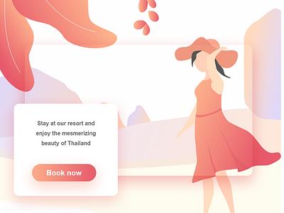 Thailand beach web design app clean gradient travel resort hat girl tourist thailand illustration