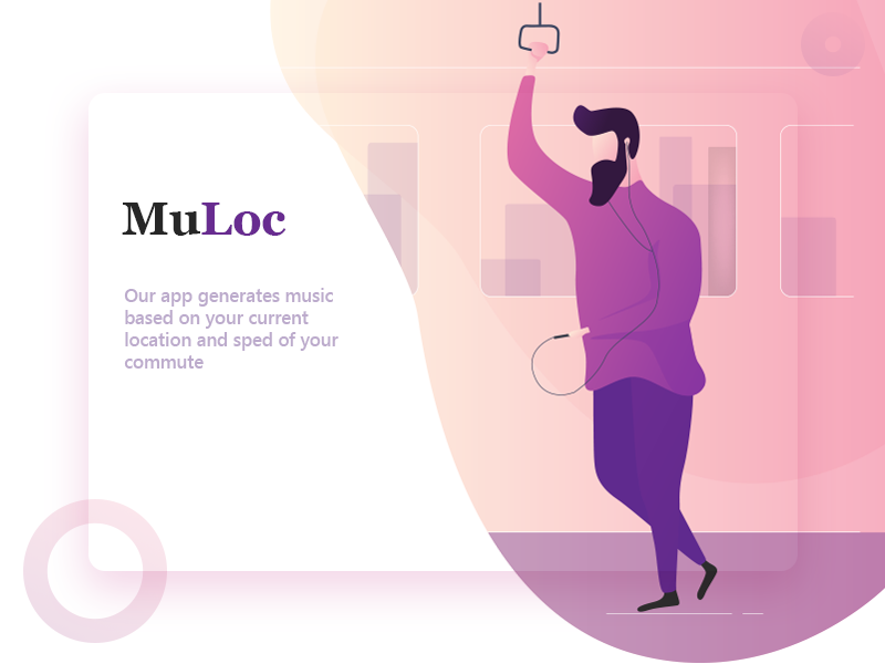 Music Based On Location travel train subway guy character ux violet purple website ui app gradients ai location music illustration