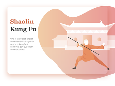 Shaolin Kung Fu vector website landing page clean gradients buddhism temple martial arts peace monk illustration kung fu shaolin