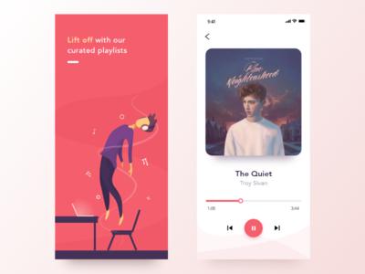 Music Player vector character human illustrator adobe xd colors illustration minimal clean modern ios app ui player music