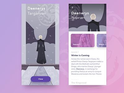 Daenerys Targaryen photoshop illustrator xd blue design ux ui white minimal clean illustration icon daenerys ios wiki app daenerys targaryen game of thrones