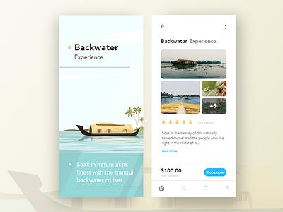 Explore Backwaters peaceful calm modern vector ui ux minimal clean kerala travel backwaters mobile design app illustration ui