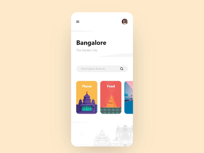 Bangalore - Adobe XD Playoff ios vector clean design microinteraction animation visual design ui ux xd app modern bangalore prototype illustration adobe illustrator adobe xd