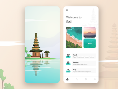 Bali app illustration app minimal ios ui design vector places travel tourism nature clean modern illustration app design ui bali