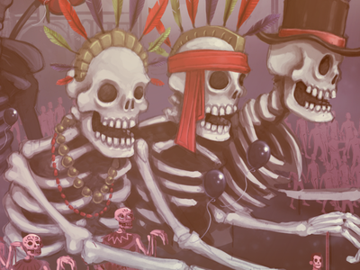 Skeleton Floats art illustration dead mexico skeleton