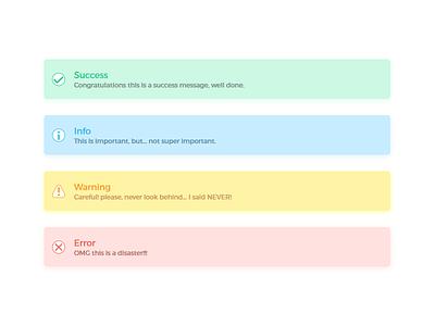 Alerts visualdesign ui shadows lightcolors ps ai error warning info success alerts