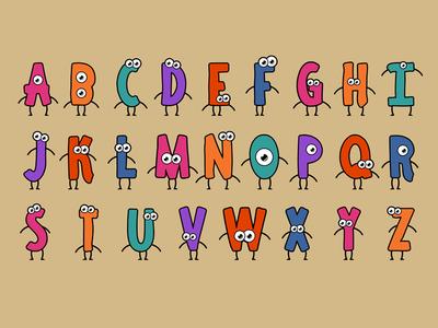 26 Characters music video 2d illustration character design character motion design animation alphabet cartoon