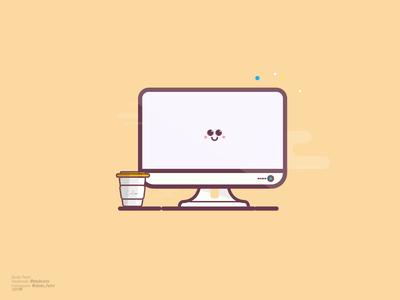 flat vector screen character