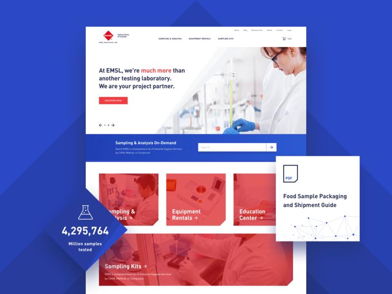 EMSL – Web Design sampling minimal clean layout design red web laboratory website blue design ux ui