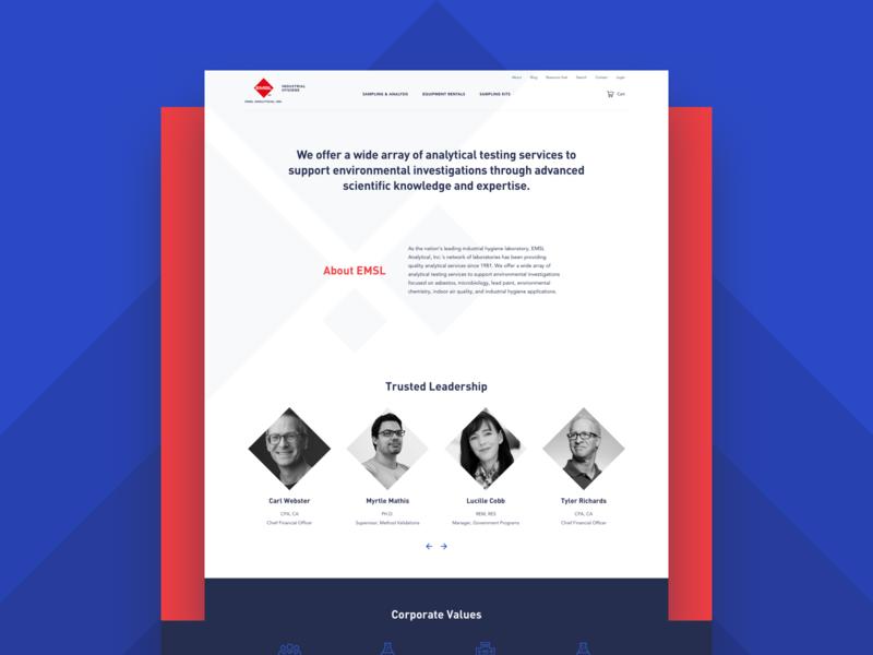 EMSL – Web Design about page web ux ui red laboratory layout design design clean blue