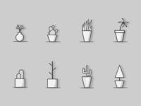 Monochrome Flower Icon Set