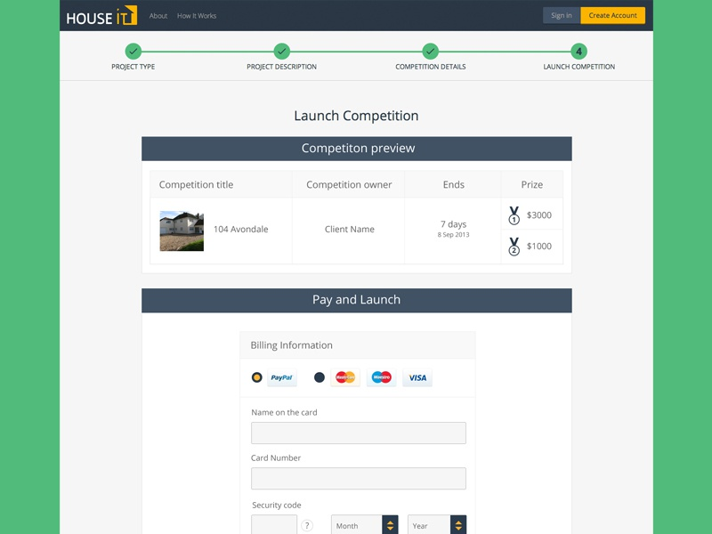 Houseit payments page
