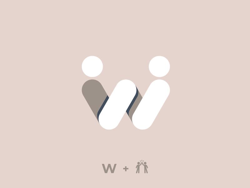 W illustration symbol calligraphy minimalist vector icon typography branding logo design