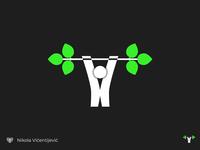 Go fit! branch icon branding fitness app symbol minimalist design logo fitness lifting fitness logo