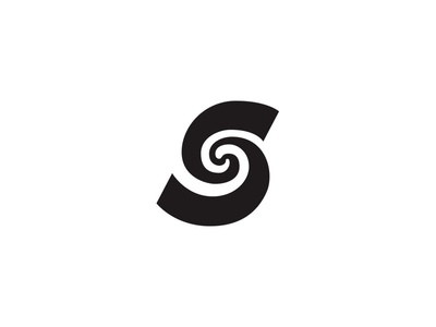 Warp S letter s typography circle calligraphy black and white design logo