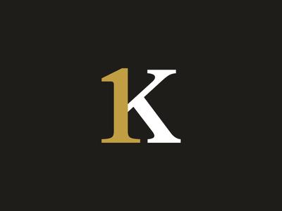 1K Mark serif logo serif lettering monogram 1k vector calligraphy ligature typography logo design