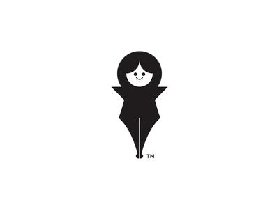 Girl Pen minimalist nib pen girl icon illustration vector black and white branding logo design