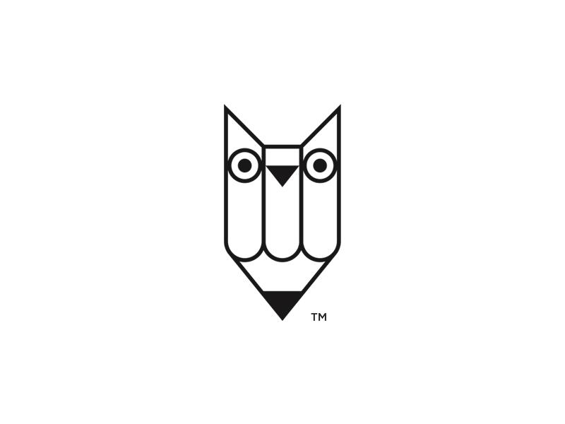 Owl Pencil logo pencil logo pencil owl logo owl minimalist icon vector black and white branding logo design