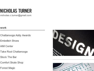 Nicholas Turner Site Build designer portfolio development sinatra