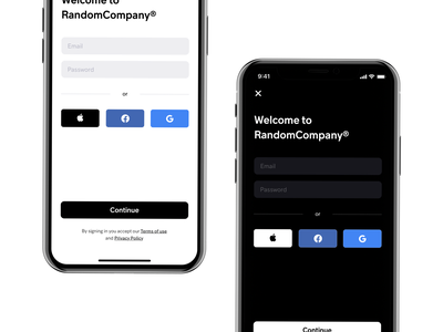 Sign in with Apple google facebook sign in sign up form textfield dark mode minimal ui design onboarding social apple watch apple login