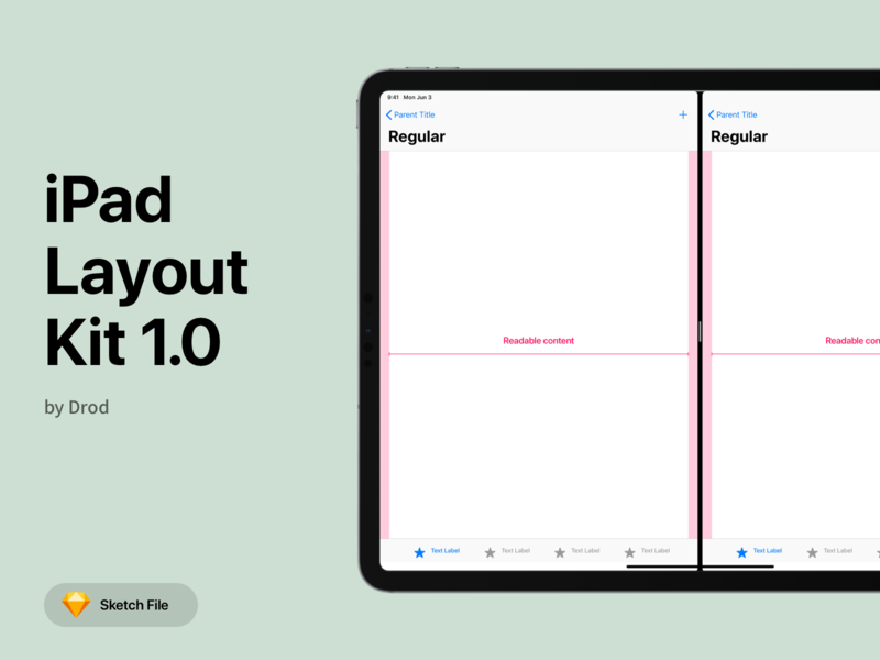 iPad Layout Kit v1.0 ui kit ipad layout split view slide over app design guidelines apple sketch tablet gui uikit navigation tabbar size mobile