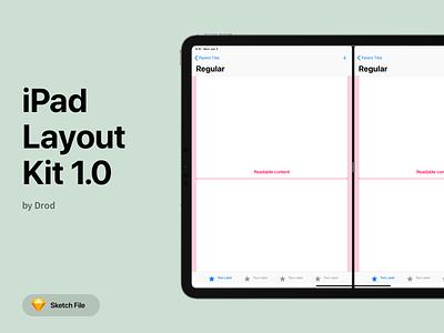 iPad Layout Kit v1.0 ui kit ipad layout split view slide over app design guidelines apple sketch tablet gui uikit navigation tabbar size mobile