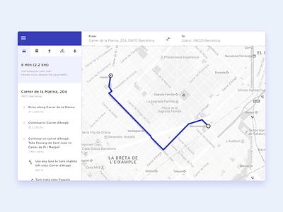 Directions Module barcelona directions minimal website challange ui design clean maps