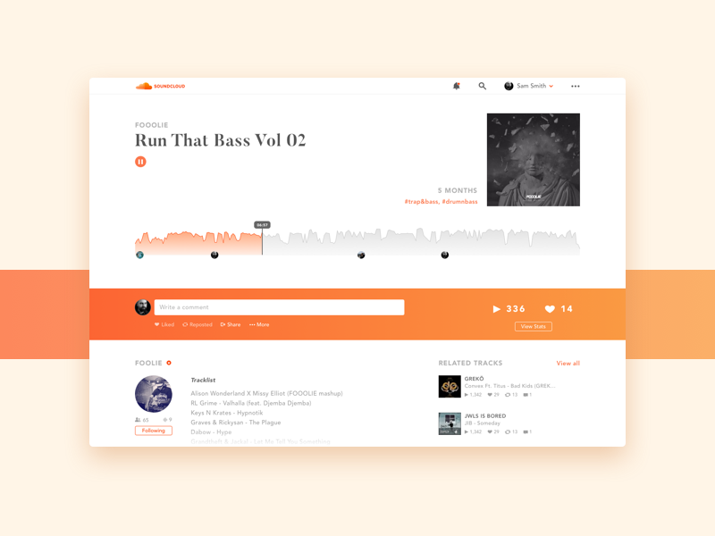 Soundcloud Song Layout / UI Challenge — Week 07 by Drod on Dribbble