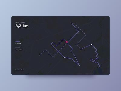 Daily UI #020 - Location Tracker barcelona distance minimal dark 020 dailyui tracker location maps