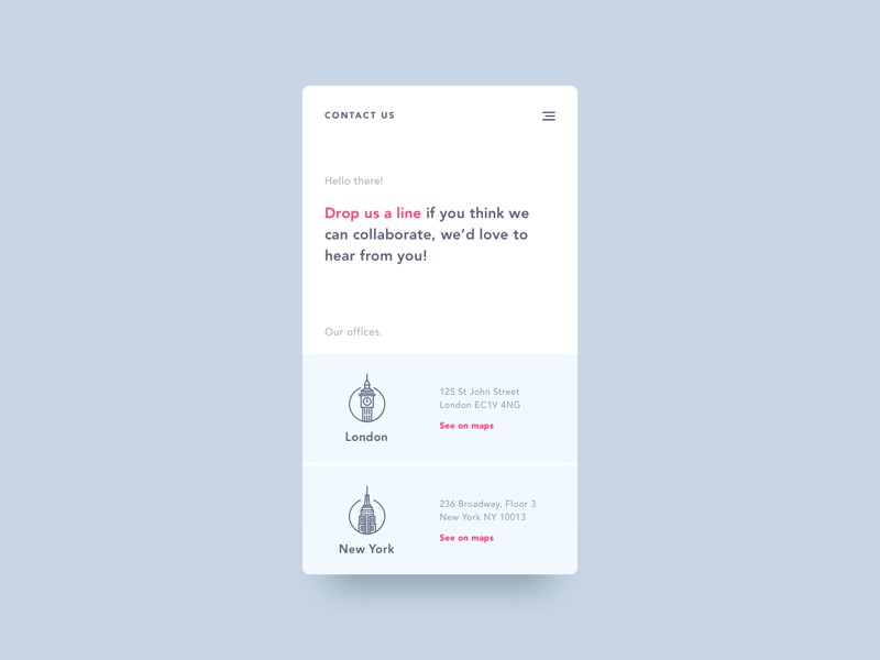 Daily UI #028 - Contact Us new york illustration london minimal clean 028 contact app mobile dailyui