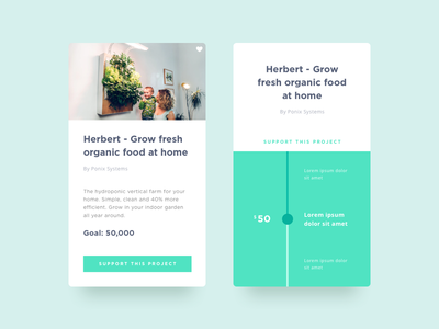 Daily UI #032 - Crowdfunding Campaign process mobile app scroll 032 dailyui minimal clean campaign crowdfunding