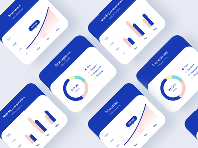 Charts color rounded card app minimal statistics ui bank graphic components ecommerce finance chart