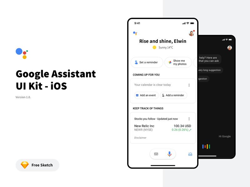 Google Assistant Free UI Kit profile app design ui search voice dark mode ios mobile sketch freebie free assistant google ui kit