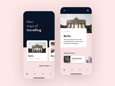 Travel App Concept design minimal photography berlin ui design ui card city tabbar detail slider color trip mobile travel app