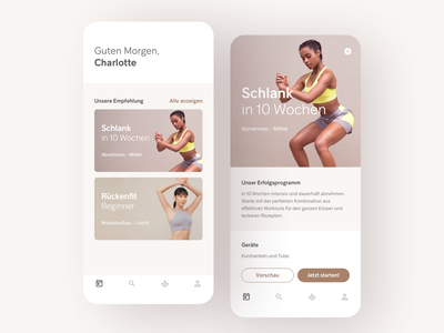 Fitness App Concept card list detail ios uidesign gym workout fitness flat ui app mobile minimal
