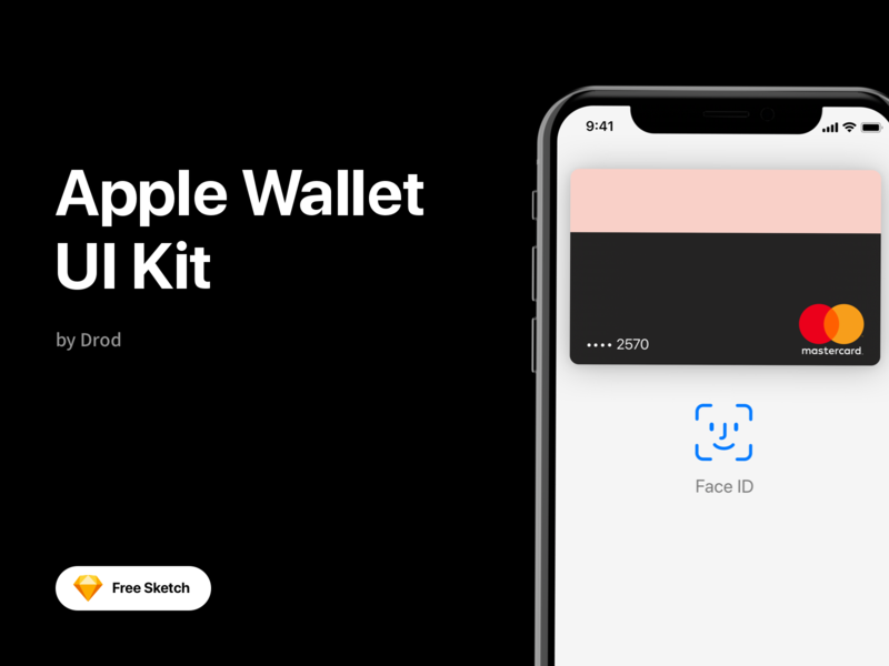 Apple Wallet Free UI Kit components ui ios mobile face id apple sketch ui kit freebie free banking wallet app