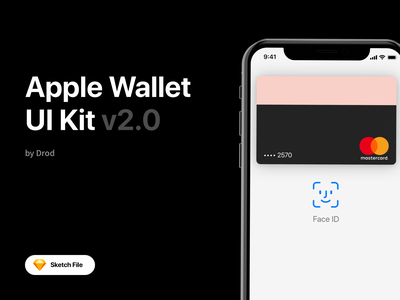 Apple Wallet UI Kit v2.0 ui banking san francisco library components face id ui design sketch mobile ios apple watch gumroad wallet apple ui kit uikit