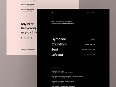 Drod - 2020 Portfolio Concept ui design fullscreen minimal black dark contact about workout projects restyle typography website portfolio