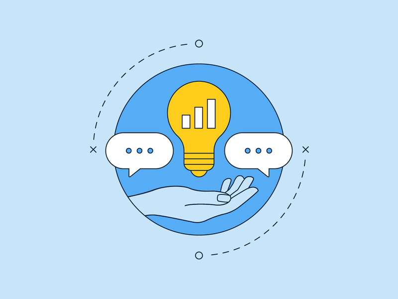 Supporting brands and conversations with data design illustration art data light bulb illustrator conversation illustrated hand vector social media layout illustration