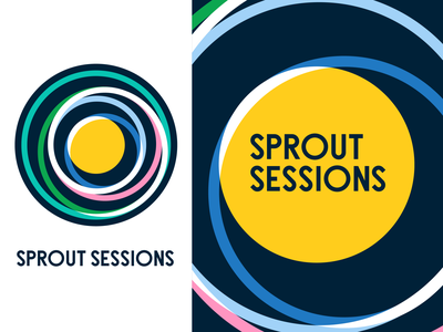 Sprout Sessions Identity System illustration event branding event yellow logo gravity circle sun solar system brand design brand collateral design collateral identity logo design vector design system design branding layout
