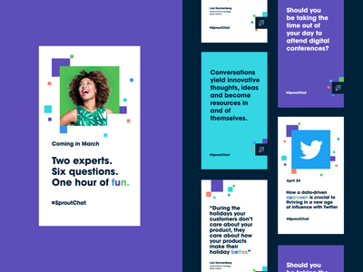 #SproutChat Social Templates identity design system digital conference hashtag rebrand colored type multicolor type and image digital pixel instagram template instagram ad social templates
