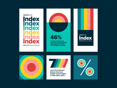 Sprout Social Index Design System impact social media bright colorful bold multicolor typography infographics infograph data rainbow stripes visual identity design system