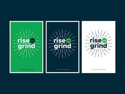 Rise and Grind Poster Design workshop agency lines sunburst typeset layout graphic design poster series series type as image type typography poster design poster grind rise