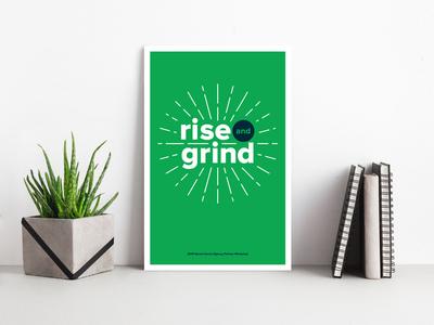 Rise and Grind Poster Design desk mockup poster design poster rays sunburst type as image type design typography layout social media illustration
