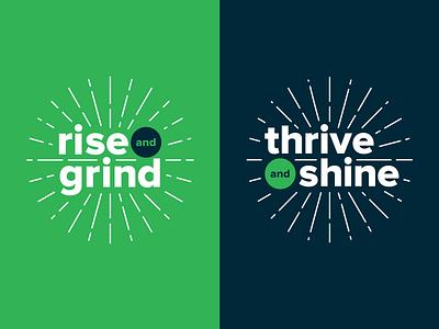 Rise & Grind + Thrive & Shine event branding event workshop graphic type branding concept texture sunburst shine thrive grind rise branding and identity partner logos branding design mark wordmark typography branding