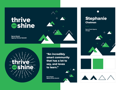 Sprout Agency Partner Summit Design System template sticker name badge name tag social media social color palette sunburst shine thrive event branding event triangle pattern triangles geometric branding visual branding visual system system design system